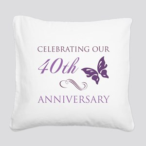 40th Anniversary (Butterfly) Square Canvas Pillow