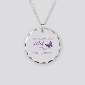 40th Anniversary (Butterfly) Necklace Circle Charm