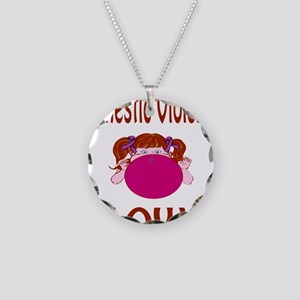 Domestic Violence Blows! Necklace Circle Charm