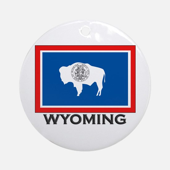 Wyoming Flag Stuff Ornament (Round)