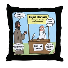 Plowshare Booth Throw Pillow