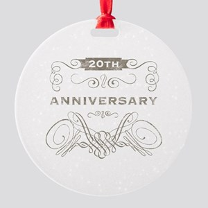 20th Vintage Anniversary Round Ornament