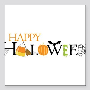 "Happy Halloween Square Car Magnet 3"" x 3"""
