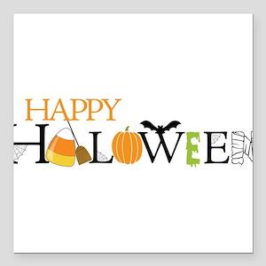 "Happy Halloween Square Car Magnet 3"" x 3"""