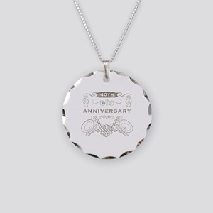 40th Vintage Anniversary Necklace Circle Charm