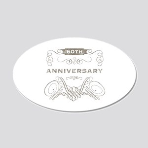 60th Vintage Anniversary 20x12 Oval Wall Decal
