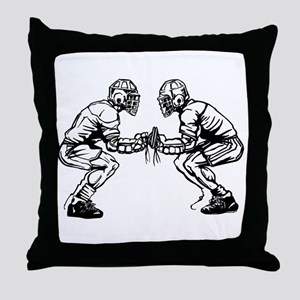 Lacrosse Faceoff Throw Pillow