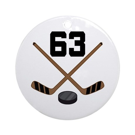 Hockey Player Number 63 Ornament (Round)