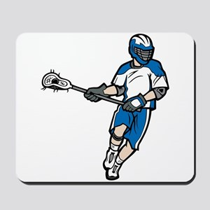 Blue Lacrosse Player Mousepad