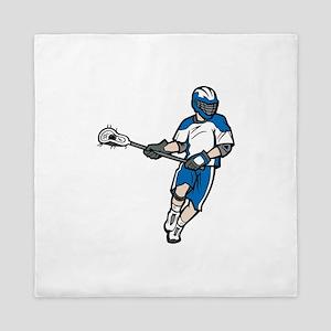 Blue Lacrosse Player Queen Duvet
