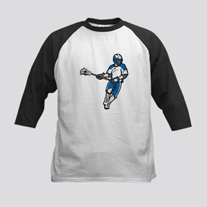 Blue Lacrosse Player Kids Baseball Jersey