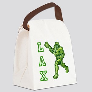 Green LAX Player Canvas Lunch Bag
