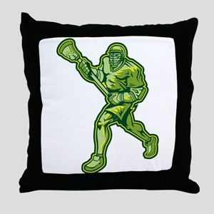 Green Lacrosse Player Throw Pillow