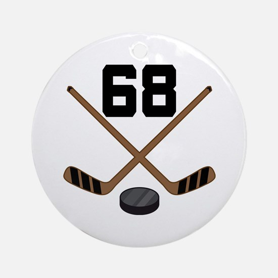 Hockey Player Number 68 Ornament (Round)
