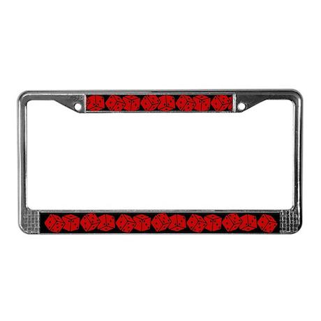 Retro Red Dice License Plate Frame