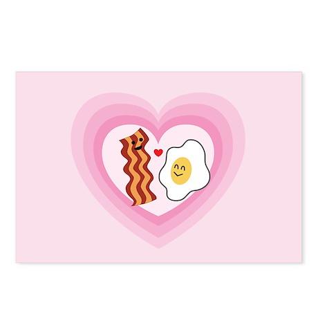 Pink Heart Valentine Bacon & Eggs in Love Postcard