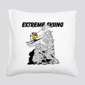 Extreme Skiing Square Canvas Pillow
