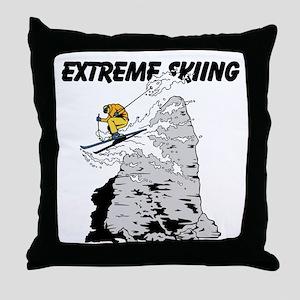 Extreme Skiing Throw Pillow