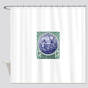 1916 Barbados Neptune Postage Stamp Shower Curtain