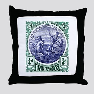 1916 Barbados Neptune Postage Stamp Throw Pillow