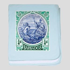1916 Barbados Neptune Postage Stamp baby blanket