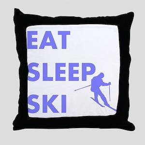 Eat Sleep Ski Throw Pillow