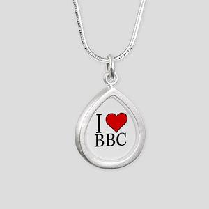I Heart Big Black Cock Silver Teardrop Necklaces
