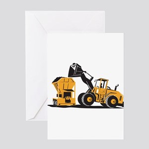 Front End Loader Digger Excavator Retro Greeting C