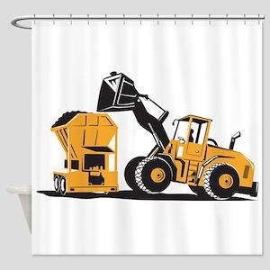 Front End Loader Digger Excavator Retro Shower Cur