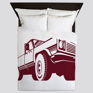 Pickup Truck Rear Retro Queen Duvet