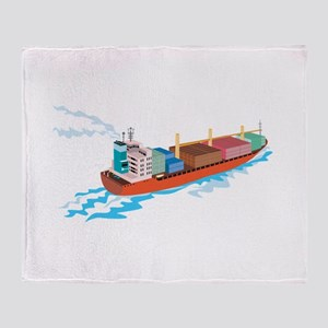 Container Ship Cargo Boat Retro Throw Blanket