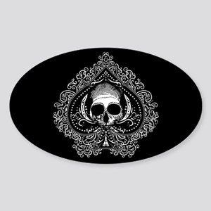 Skull Ace Of Spades Sticker (Oval)