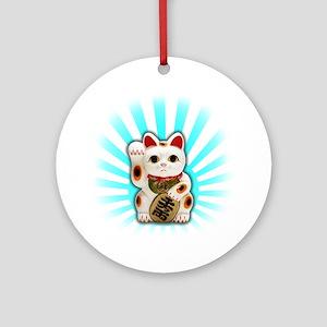 Lucky Cat (Maneki-neko) Ornament (Round)