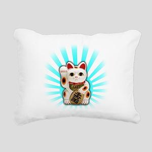 Lucky Cat (Maneki-neko) Rectangular Canvas Pillow