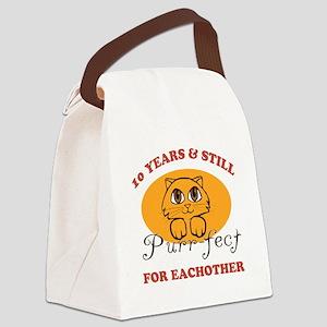 10th Purr-fect Anniversary Canvas Lunch Bag