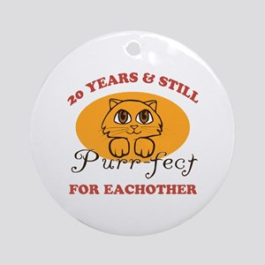 20th Purr-fect Anniversary Ornament (Round)
