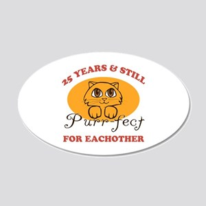25th Purr-fect Anniversary 20x12 Oval Wall Decal