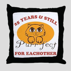 25th Purr-fect Anniversary Throw Pillow