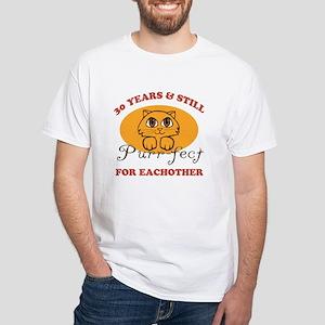 30th Purr-fect Anniversary White T-Shirt