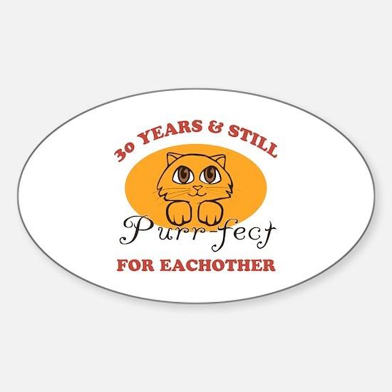 30th Purr-fect Anniversary Sticker (Oval)
