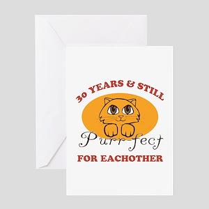 30th Purr-fect Anniversary Greeting Card