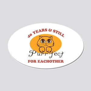 40th Purr-fect Anniversary 20x12 Oval Wall Decal