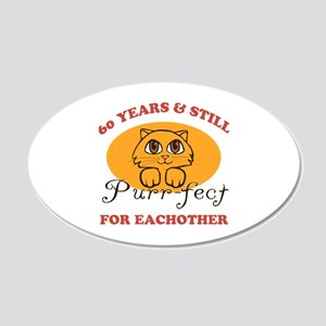 60th Purr-fect Anniversary 20x12 Oval Wall Decal