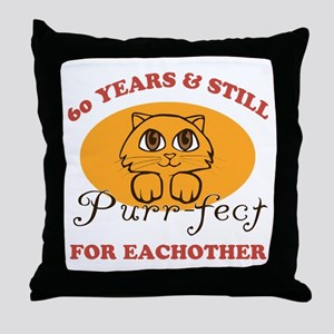 60th Purr-fect Anniversary Throw Pillow