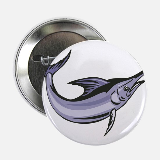 "Blue Marlin Fish Jumping Retro 2.25"" Button"