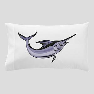 Blue Marlin Fish Jumping Retro Pillow Case