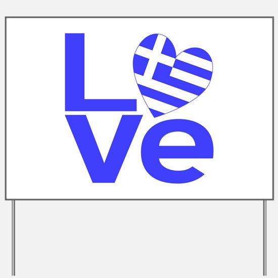 Blue Greek LOVE Yard Sign