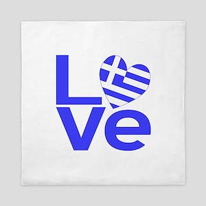 Blue Greek LOVE Queen Duvet