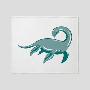 Loch Ness Monster Retro Throw Blanket