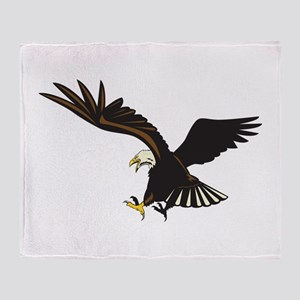 Bald Eagle Flying Throw Blanket